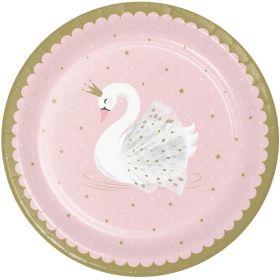Swan Party Dinner Plates 23cm, pk8