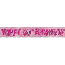 Pink Age 60 Party Banners