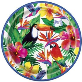 Palm Tropical Luau Dinner Plates 23cm, pk8