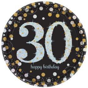 Gold Sparkling Celebration 30th Prismatic Paper Plates 23cm, pk8