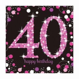 Pink Sparkling Celebration 40th Birthday Luncheon Napkins 33cm x 33cm, pk16