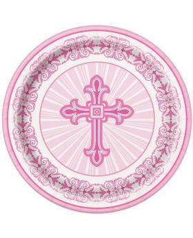 Pink Christening Radiant Cross Plates 23cm, pk8