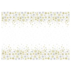 Silver & Gold Snowflakes Party Tablecover 1.37m x 2.13m