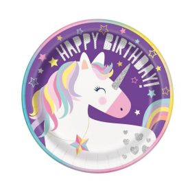 Unicorn Birthday Party Plates 23cm, pk8
