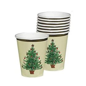 Classic Victorian Tree Party Cups 266ml, pk8