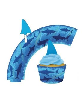 Shark Splash Cupcake Wrap with Topper, pk12