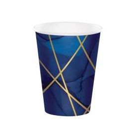 Navy & Gold Geode Party Cups 354ml, pk8