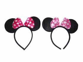 Black Minnie Mouse Ears with Polka Dot Bow