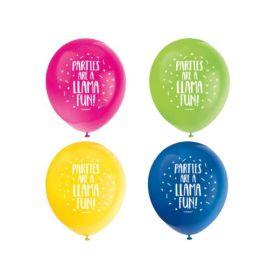 "Llama Birthday Party Latex Balloons 12"", pk8"