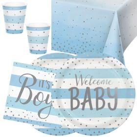 Blue and Silver Baby Shower Party Tableware Pack for 16