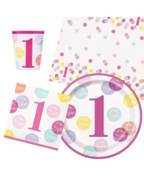 Pink Dots 1st Birthday Tableware Pack for 8