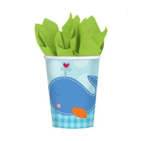 Ahoy Baby Boy Blue Baby Shower Paper Cups 266ml, pk8