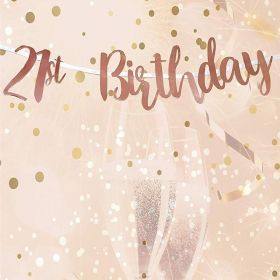 Rose Gold 21st Birthday Letter Script Banner 1.8m