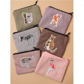 Soft Cotton Fabric Jungle Animal Zip Purse
