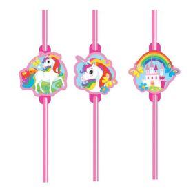 Unicorn Plastic Straws pk8