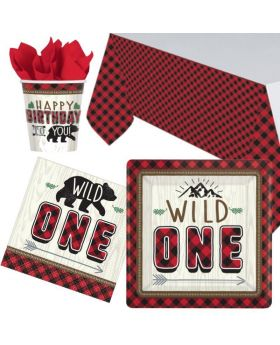 Little Lumberjack 1st Birthday Party Tableware Pack for 8