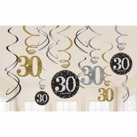 Gold Sparkling Celebration 30th Swirl Decoration Value Packs - pk12