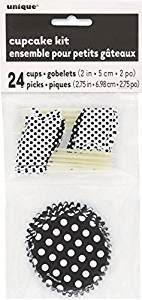 Midnight Black Polka Dot Party Cupcake Kit, 24pc