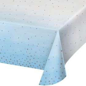 Blue and Silver Baby Shower Party Tablecover 1.37m x 2.59m