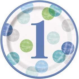 Blue Dots 1st Birthday Party Plates 23cm, pk8