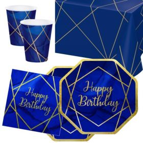 Navy & Gold Geode Party Happy Birthday Tableware Pack for 16
