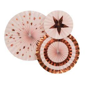 Pink & Rose Gold Pinwheels, pk3