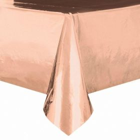 Rose Gold Foil Plastic Tablecover 1.37m x 2.13m