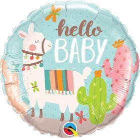 "Llama Hello Baby Foil Balloon 18"""
