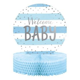 Blue and Silver Baby Shower Party Honeycomb Centrepiece 35cm