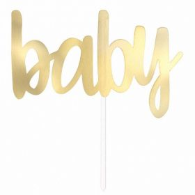 Gold ''Baby'' Cake Topper Pick
