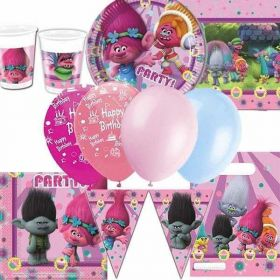 Trolls Deluxe Party Supplies Kit for 16
