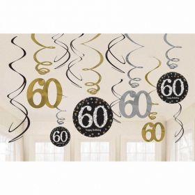 Gold Sparkling Celebration 60th Swirl Decoration Value Packs - pk12