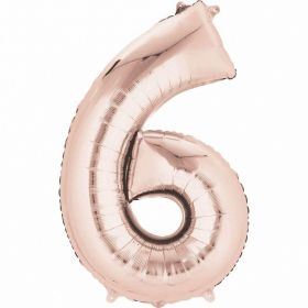 Rose Gold Number 6 SuperShape Foil Balloon