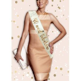 Cream and Rose Gold 40th Birthday Sash