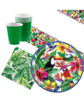 Tropical Palm Hawaiian Party Tableware Pack for 8