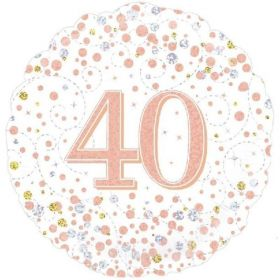 Rose Gold Sparkling Dots 40th Birthday Foil Balloon