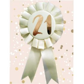 21st Birthday Rose Gold and Cream Rosette