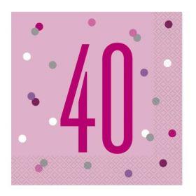 Glitz Pink Age 40 Napkins 33cm x 33cm, pk16