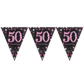 Pink Sparkling Celebration 50th Birthday Flag Banner 4m