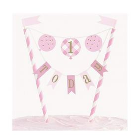 Pink Gingham 1st Birthday Party Cake Topper