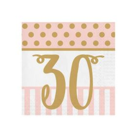Pink Chic Happy 30th Napkins 33cm x 33cm, pk20