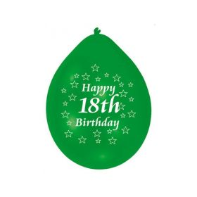 Happy 18th Birthday Mix Colours Latex Balloons, pk10