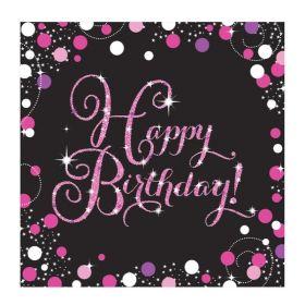 Pink Sparkling Celebration Happy Birthday Luncheon Napkins 33cm x 33cm, pk16
