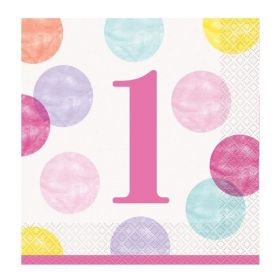 Pink 1st Birthday Napkins