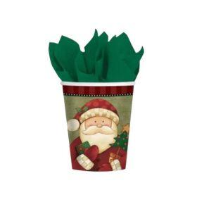 Cozy Santa Christmas Party Cups 266ml, pk8