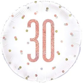 Glitz Rose Gold Age 30 Foil Balloon 18""