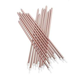 Rose Gold Metallic Candles with Holders 18cm