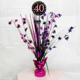 Pink Sparkling Celebration 40th Birthday Spray Centrepieces 33cm