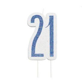 Glitz Blue Age 21 Candle
