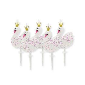 Swan Glitter Pick Candles, pk5